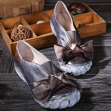 Socofy Toe Pattern Real Leather Butterfly Knot Soft Platform Vintage Shoes-Newchic-Brown