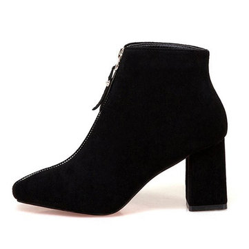 Solid Color High Heel Boots-Newchic-Black