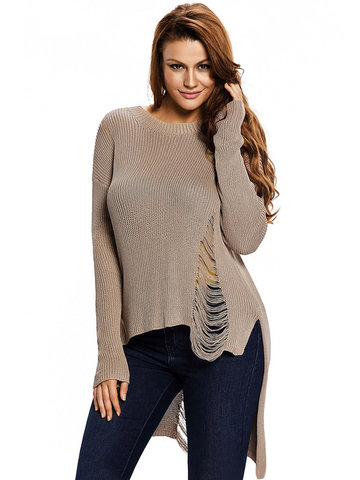 Solid Color Sexy Knit Hollow Long Sleeve O Neck Women Sweaters-Newchic-