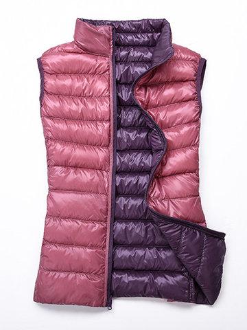 Solid Color Women Down Vest Coats-Newchic-