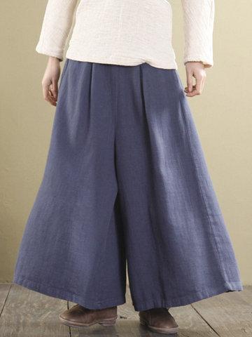 Solid Elastic Waist Wide Leg Pants-Newchic-