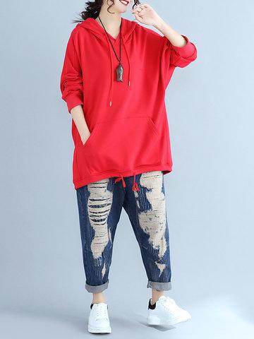 Solid Hooded Drawstring Long Sleeve Sweatshirt-Newchic-