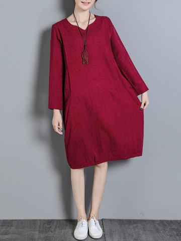 Solid Jacquard Pockets Long Sleeve Dress-Newchic-