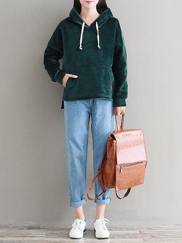 Solid Long Sleeve Velvet Hoodies-Newchic-