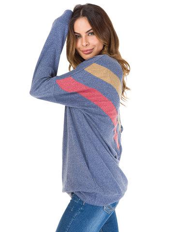 Solid O-neck Patchwork Casual Sweatshirt-Newchic-