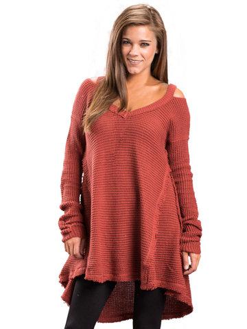 Solid Off Shoulder Irregular Hem Sweaters-Newchic-