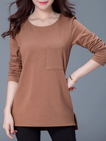 Solid Split Irregular Hem Long Sleeve Blouse-Newchic-