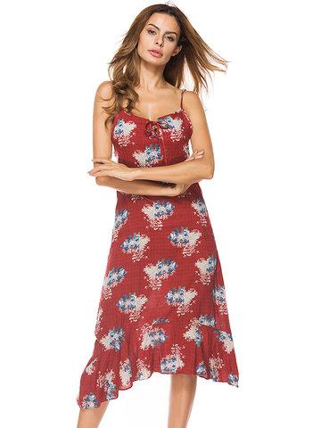 Spaghetti Strap Floral Print Dresses-Newchic-
