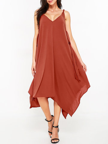 Spaghetti Strap Irregular Dresses-Newchic-