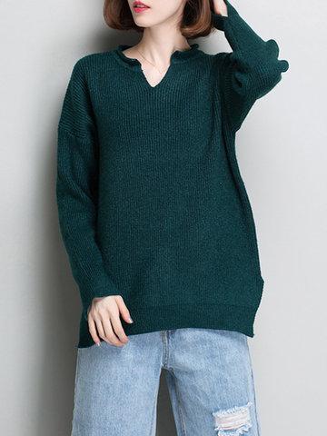 Splited Hem Women Sweaters-Newchic-