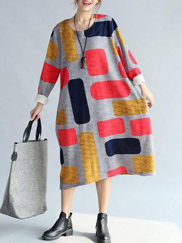 Square Printed Dresses-Newchic-
