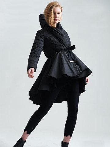 Stand Collar Dress Hem Down Coats-Newchic-