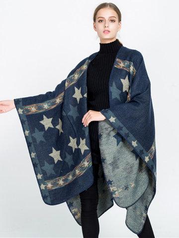 Star Printed Knitted Cloak Shawl Cardigan-Newchic-