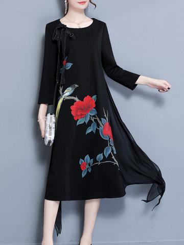 Stitching Chiffon Floral Printed Dress-Newchic-