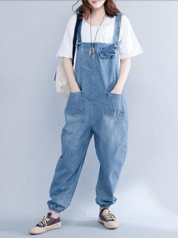 Strap Pocket Denim Loose Jumpsuits-Newchic-