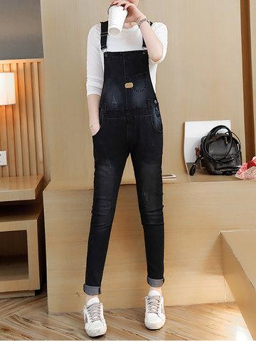 Strap Pockets Denim Jumpsuits-Newchic-