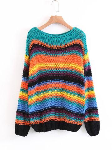 Stripe Crochet Long Sleeve Sweaters-Newchic-