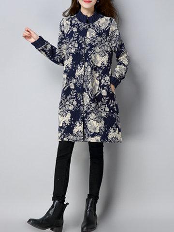 Stripe Floral Print Thicken Women Coats-Newchic-