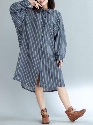 Stripe Irregular Loose Women Dresses-Newchic-
