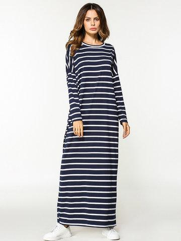 Stripe Loose Long Maxi Dresses-Newchic-
