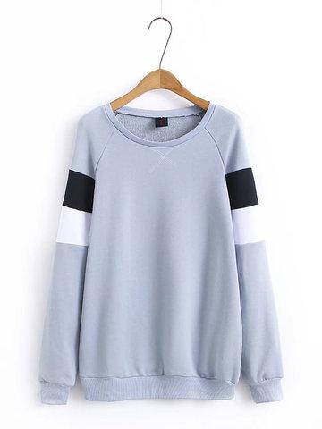 Stripe Loose Women Sweatshirts-Newchic-
