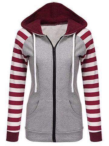 Stripe Patchwork Hooded Women Coats-Newchic-