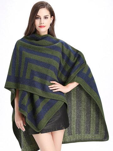 Stripe Printed Imitation Wool Cardigan-Newchic-