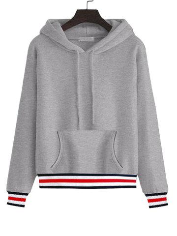 Stripe Thicken Hooded Women Hoodies-Newchic-
