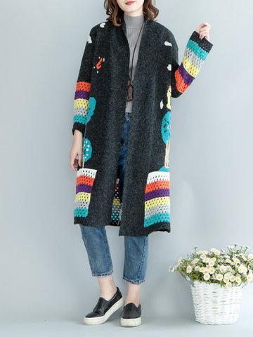 Stripe Tree Pattern Women Cardigans-Newchic-
