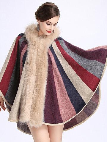 Striped Hooded Imitation Wool Cardigan-Newchic-