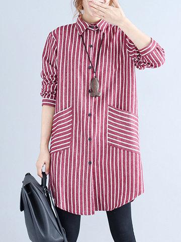 Striped Long Sleeve Lapel Shirt-Newchic-