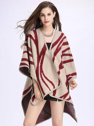 Striped Shawl Imitation Wool Cardigan-Newchic-