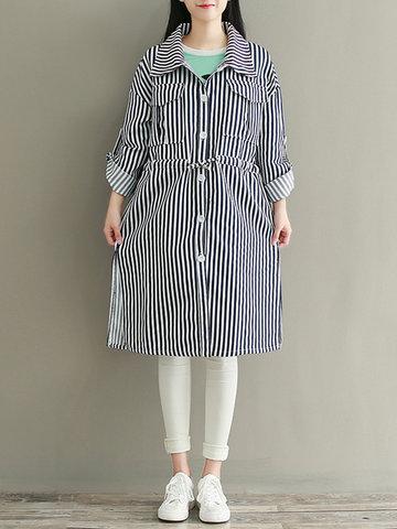 Striped Side Split Pockets Long Sleeve Jackets-Newchic-