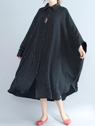 Striped Split Irregular Hem Bat Sleeve Dress-Newchic-