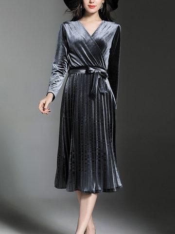 TangJie Belt Slim Women Velvet Dresses-Newchic-