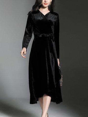 TangJie Brief Solid Black Velvet Dresses-Newchic-