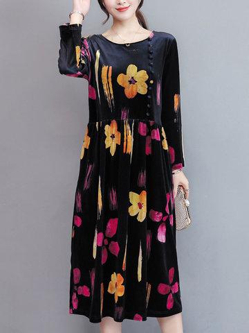 TangJie Casual Printed Women Corduroy Dresses-Newchic-