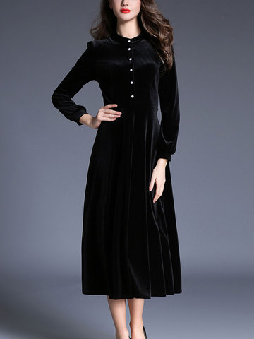TangJie Elegant Solid Color Stand Collar Long Sleeve Women Dresses-Newchic-