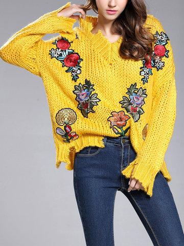 TangJie Flower Embroidery Women Sweaters-Newchic-