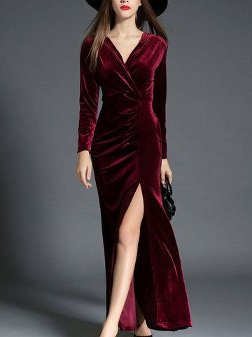 TangJie Sexy Deep V-Neck Long Sleeve Maxi Slit Dresses-Newchic-