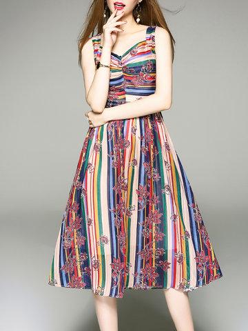 TangJie Vintage Floral Printed V-Neck Sleeveless Women Dresses-Newchic-