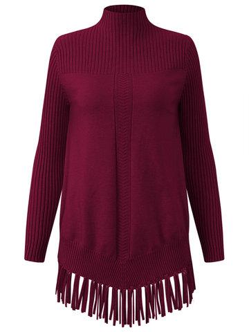 Tassel Hem Women Knitted Sweaters-Newchic-