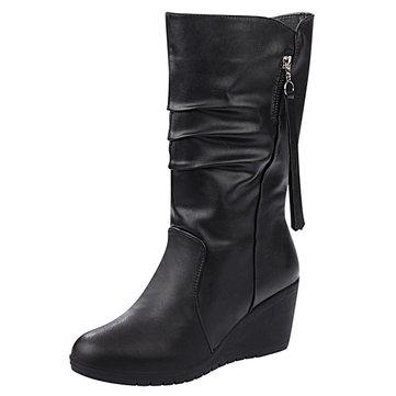 Tassel Zipper Black Boots-Newchic-Black