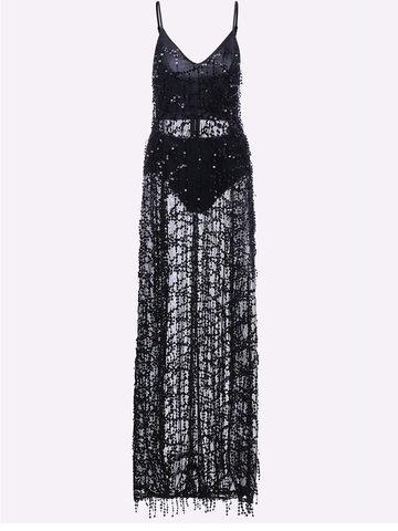 Tassels Sequins Slit Hem V-neck Party Maxi Dress For Women-Newchic-