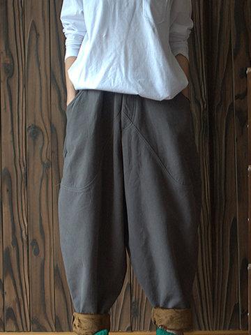 Thicken Elastic Waist Women Harem Pants-Newchic-
