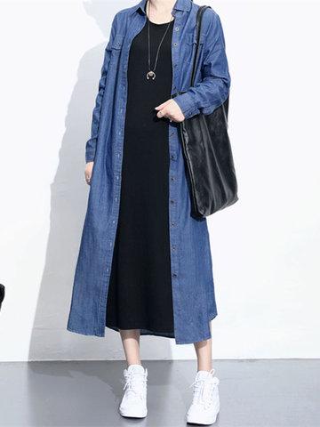 Turn-down Collar Denim Shirt Dresses-Newchic-