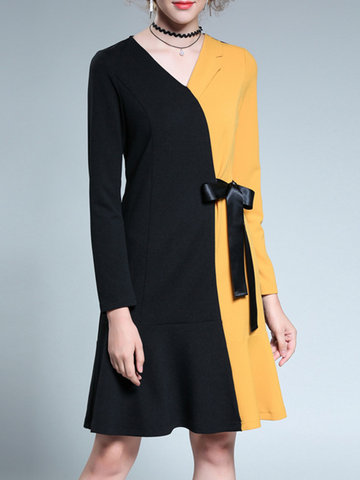 V-neck Long Sleeves Stitching Color Dress-Newchic-