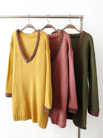 V-neck Pullover Casual Loose Sweaters-Newchic-
