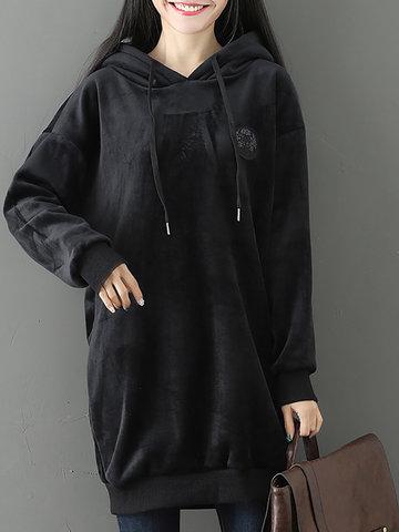 Velvet Pure Color Hooded Women Hoodies-Newchic-