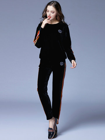 Velvet Striped Long Sleeve Two-Piece Suit-Newchic-